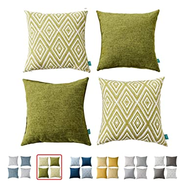 HOMEPLUS Plaid Cotton Decorative Pillow Covers 4 pcs Throw Pillows Covers Navy Blue Couch Pillowcase Cushion Cover 17X17 Throw Pillow Cover Couch Green