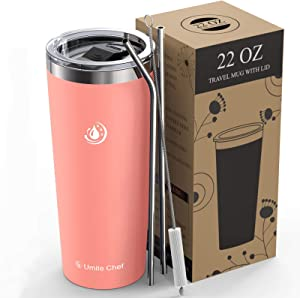 Umite Chef 22oz Tumbler Insulated Stainless Steel Travel Tumbler Mug with Lid, 2 Straws & Brush Durable Insulated Coffee Mug, Thermal Cup with Splash Proof Sliding Lid(Coral)