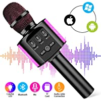 Kyansin Wireless Microphone,Portable Microphone Karaoke, Bluetooth Karaoke Player Speaker,Built-in Chargeable Battery For Home Outdoor Party KTV Muisc Playing Singing Anytime (Black)