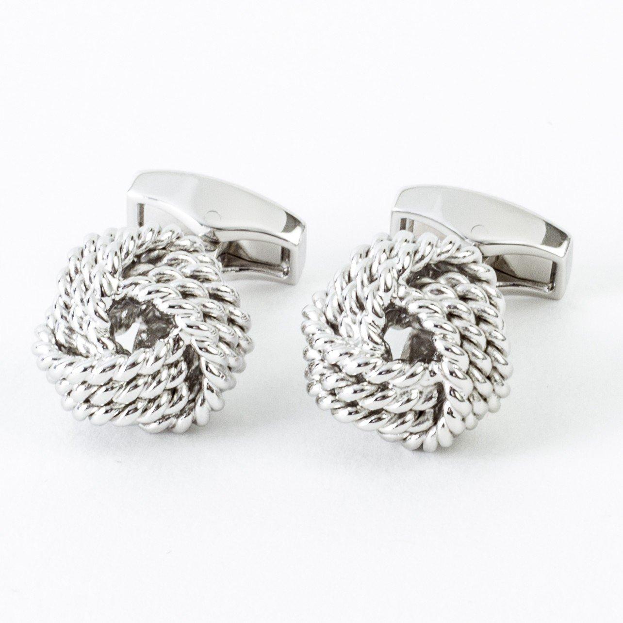 Tateossian Men's ''Business Set'' Rhodium Plated Knots Cufflinks