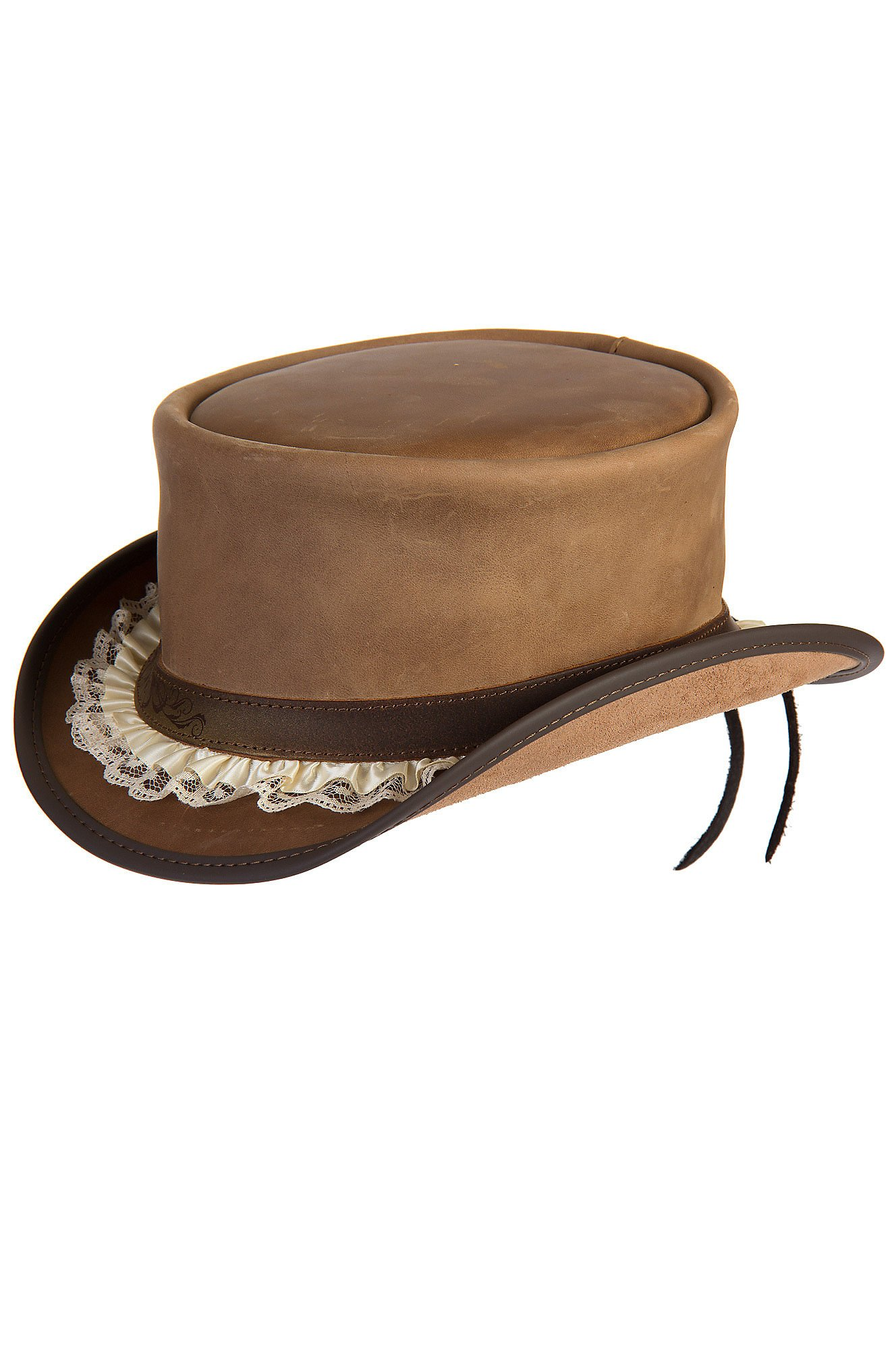Overland Sheepskin Co. Steampunk Marlow Leather Top Hat With Garter hatband, Pecan, Size Large (7 3/8)