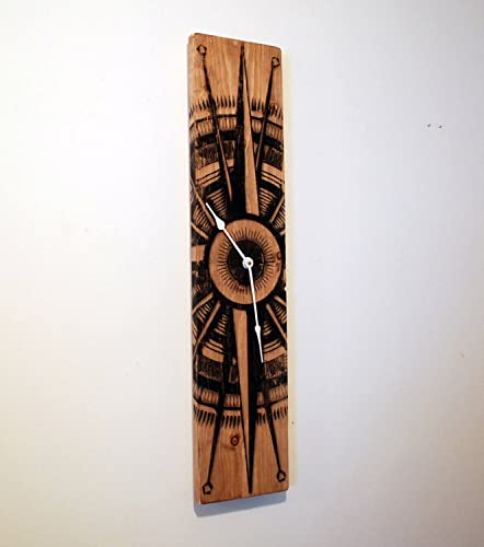 large wood wall clock with compass rose on stained distressed solid pine 32u0026quot