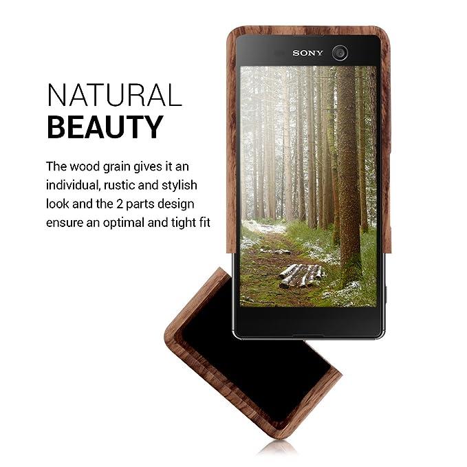 Amazon.com: kwmobile Sony Xperia M5 Wood Case - Non Slip ...