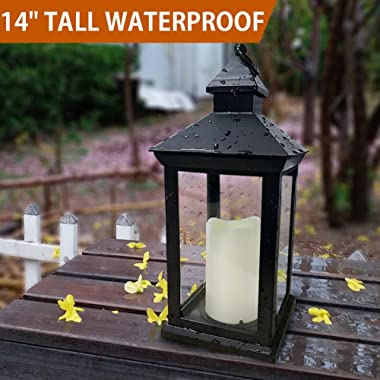 Bright Zeal BZN 14  Tall Vintage Decorative Lantern with LED Pillar Candle (Black, Batteries Included) - Waterproof Lanterns Large Lanterns Decorative Outdoor Lanterns - Hanging Candle Lantern Indoor