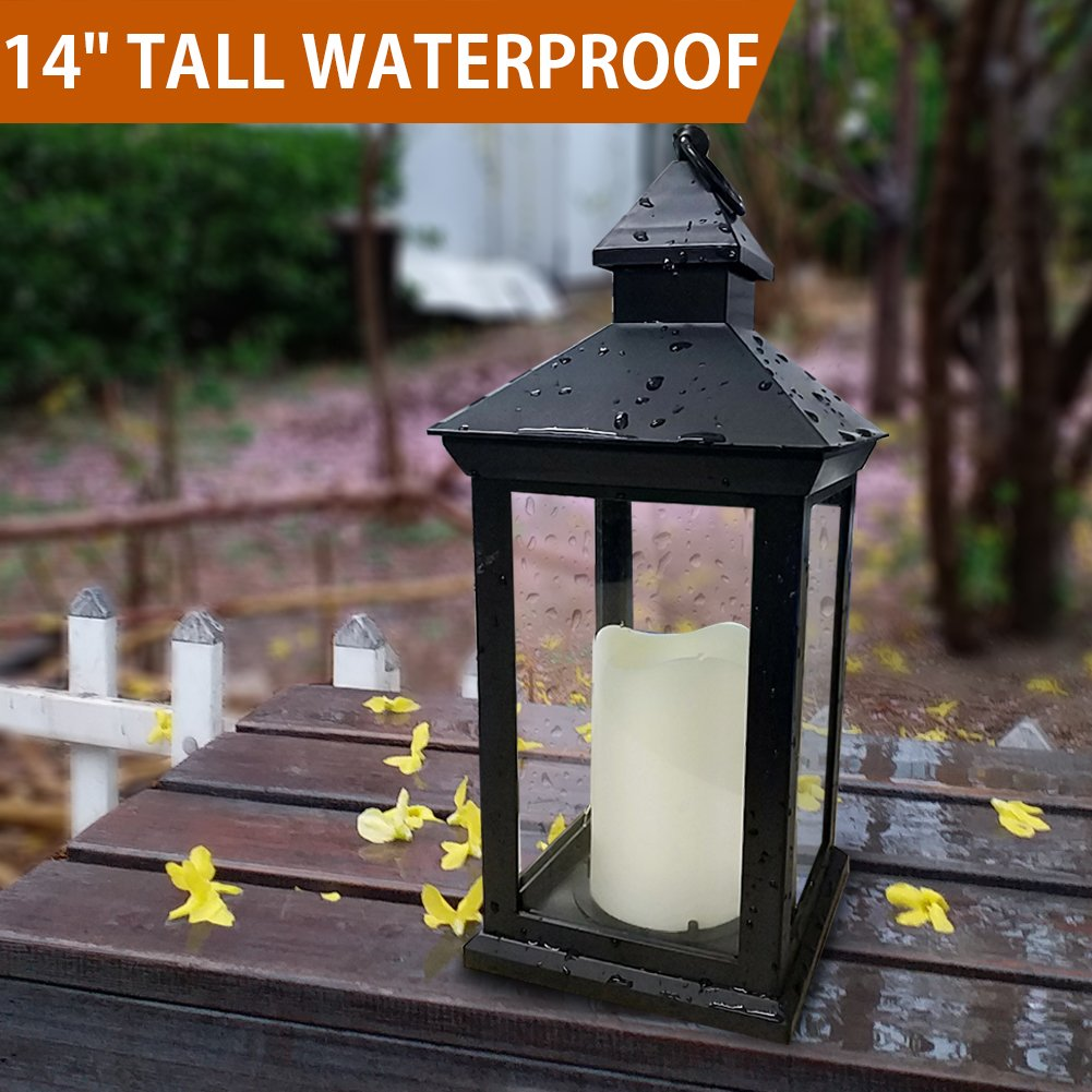 Bright Zeal BZN 14'' TALL Vintage Decorative Lantern with LED Pillar Candle (BLACK, Batteries Included) - Waterproof Lanterns Large Lanterns Decorative Outdoor Lanterns - Hanging Candle Lantern Indoor