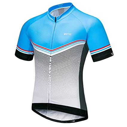 bb980a82f Wantdo Men s Short Sleeve Cycling Jersey Tops Summer Biking Shirt with 3  Pockets Small