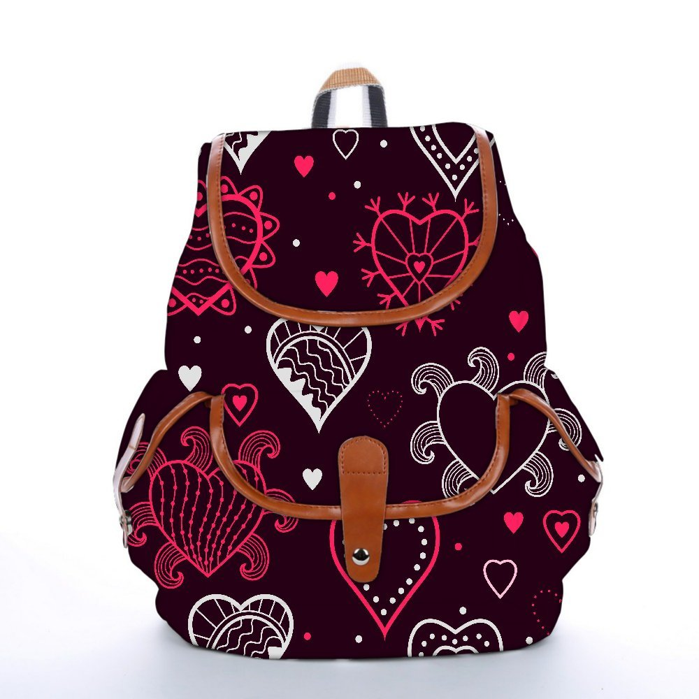 Snoogg Abstract Hearts Maroon Pattern Fashion Backpack For Women Printed Shoulder School Travel Camping Backpack Rucksack For Ladies Girls