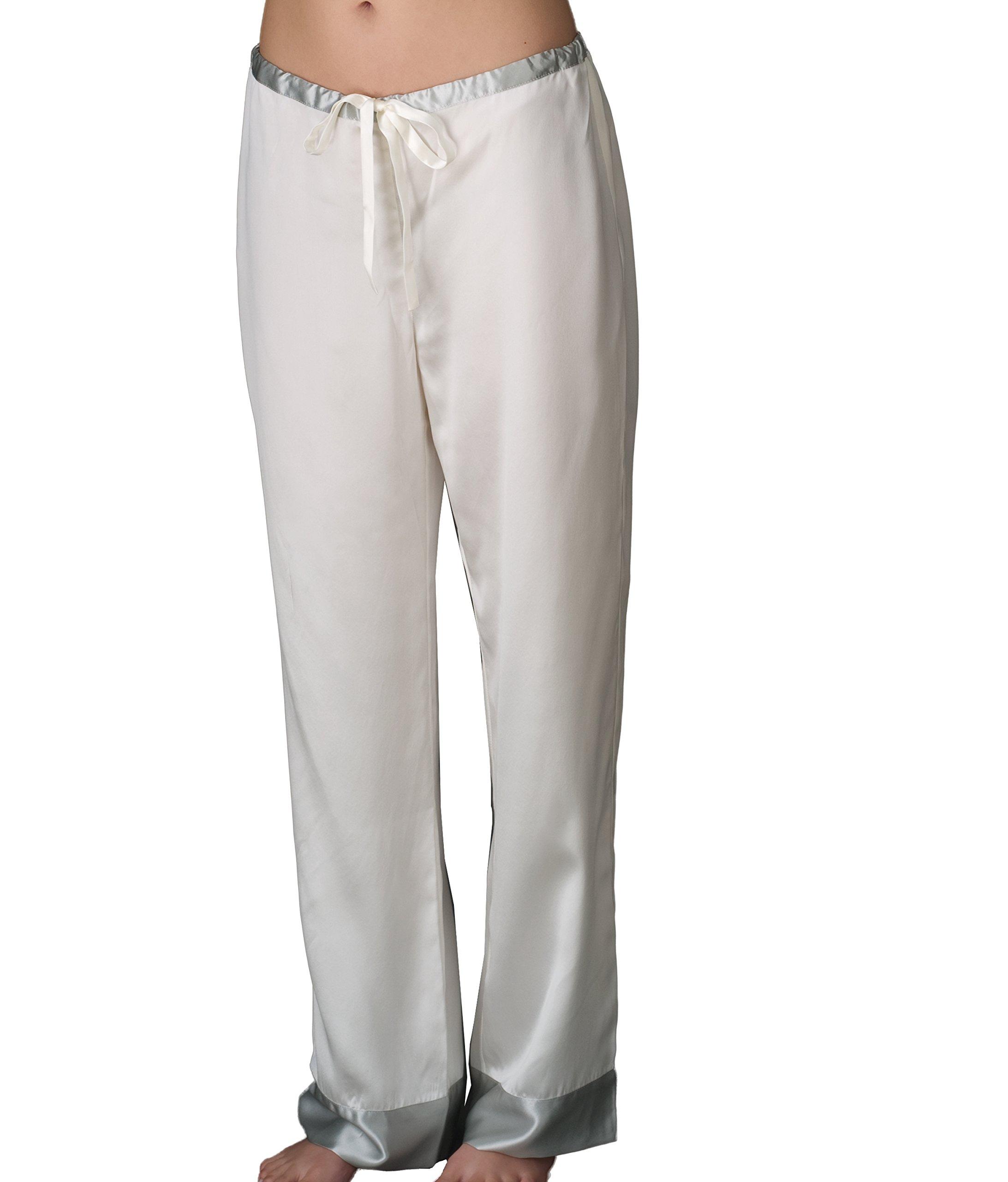 Julianna Rae Women's 100% Silk Pajama, Classic Fit, Evening Lounge, Alabaster, Petite, M by Julianna Rae (Image #3)