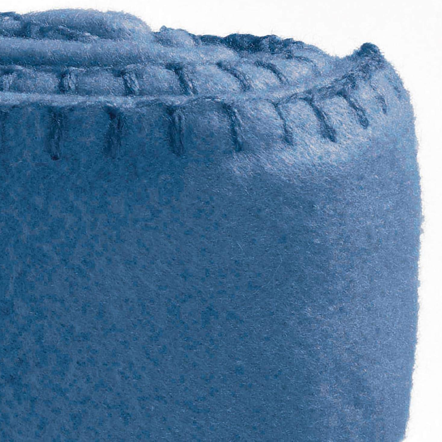Les Ateliers du Linge Plaid Mikado Polaire Extra Doux cocooning et Chaud Bleu Denim 100x150 cm