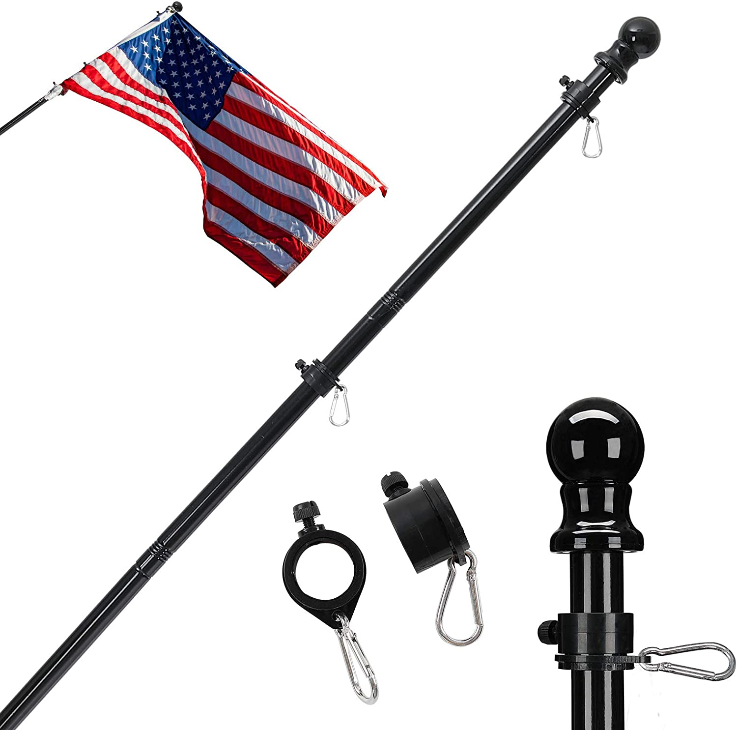 Flag Pole Kit,5 FT American Flag Flagpole Holder and Kit Clips Used for Outdoor House Garden Boat Truck Commercial Stainless Steel Flag Pole(Flag Pole Only) Black