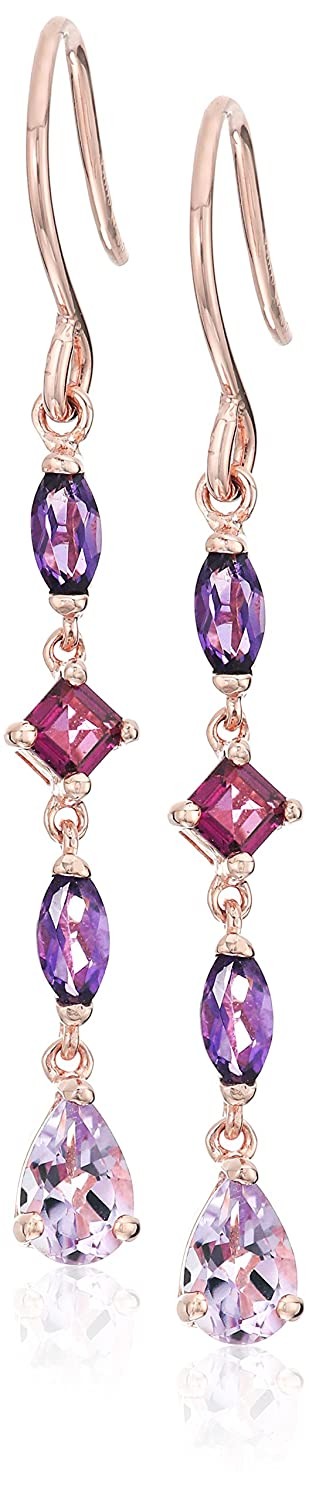 18k Rose Gold over Sterling Silver Pink Amethyst and Rhodolite Drop