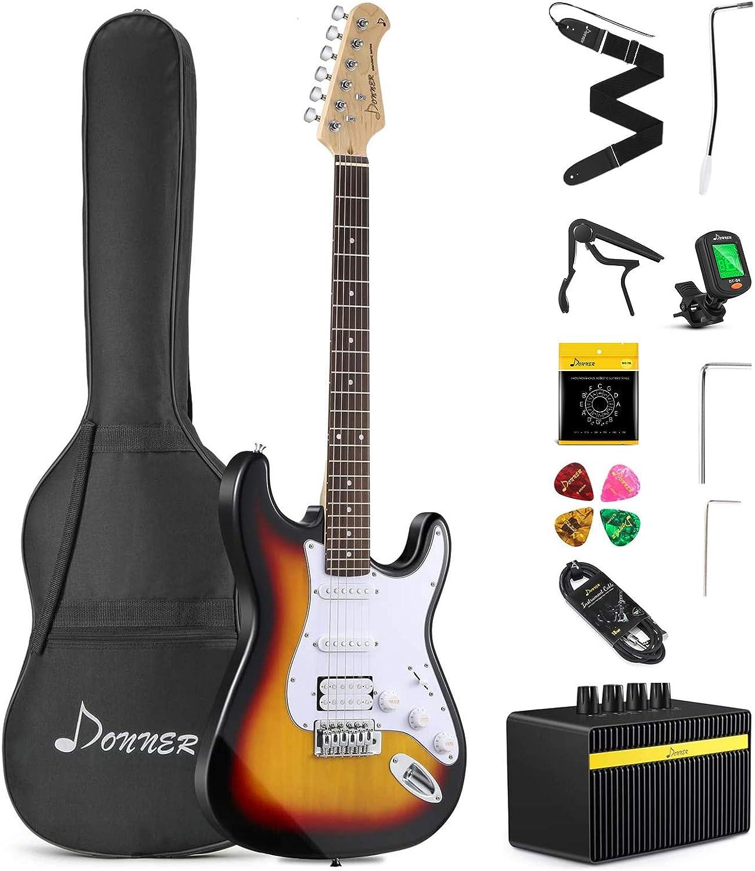 Donner Solid Kit de guitarra eléctrica de tamaño completo de 39 pulgadas con amplificador, bolsa, cejilla, correa, cuerda, sintonizador, cable y púas (Sunburst, DST-1S)