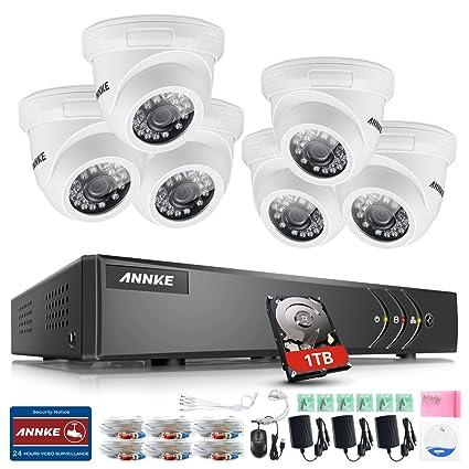 ANNKE Sistema de Seguridad 8CH 1080P Lite TVI DVR con 6 Cámara de Vigilancia IP66 Interior