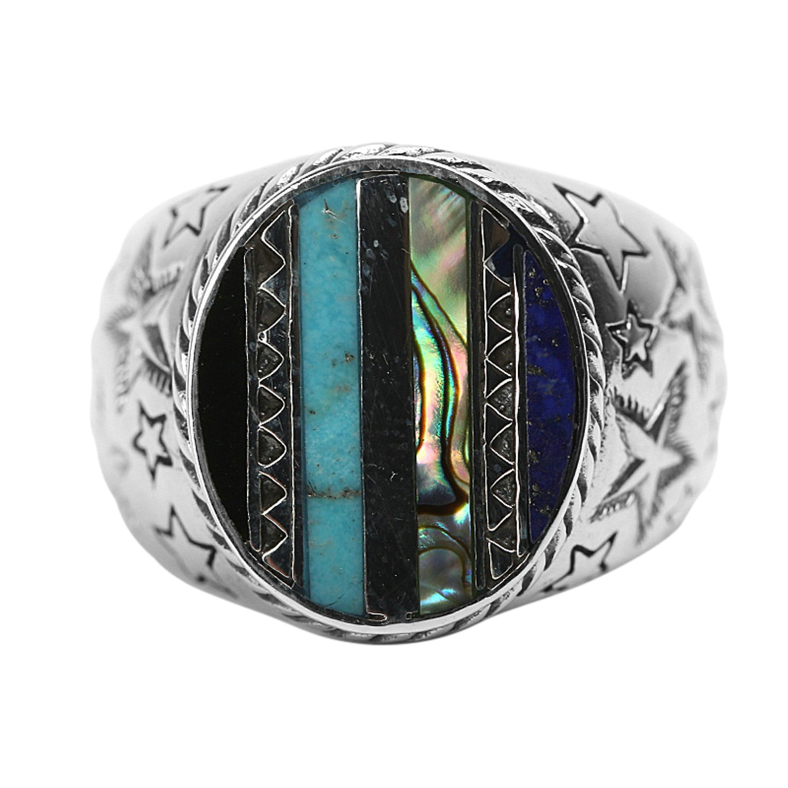 Adisaer Biker Rings Silver Ring for Men Star Ring Inlaid Multiple Stone Size 7.5 Vintage Punk Jewelry