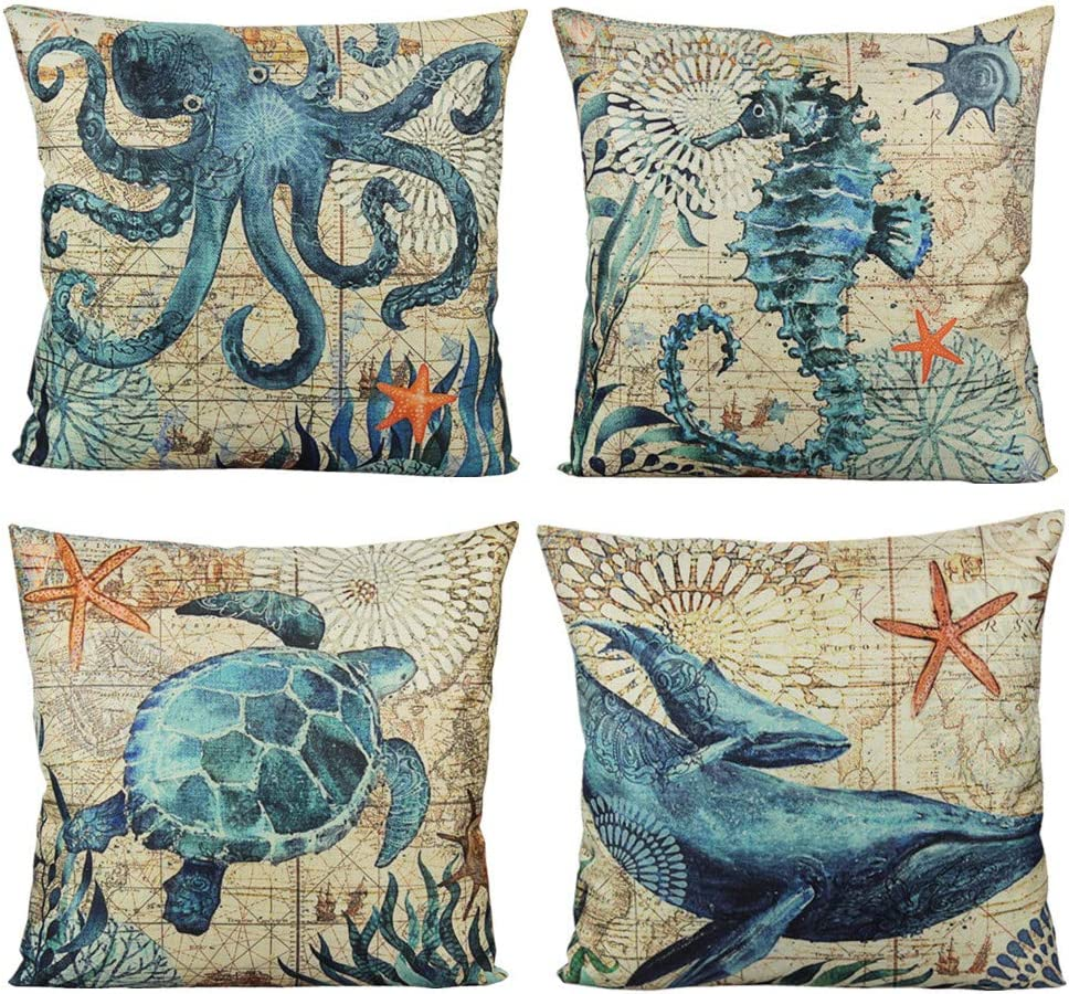 VAKADO Mediterranean Nautical Outdoor Throw Pillow Covers Beach Coastal Sea Turtle Octopus Whale Seahorse Cushion Cases Decorative Summer Ocean Decor for Couch Patio Furniture 18x18 Inch Set of 4