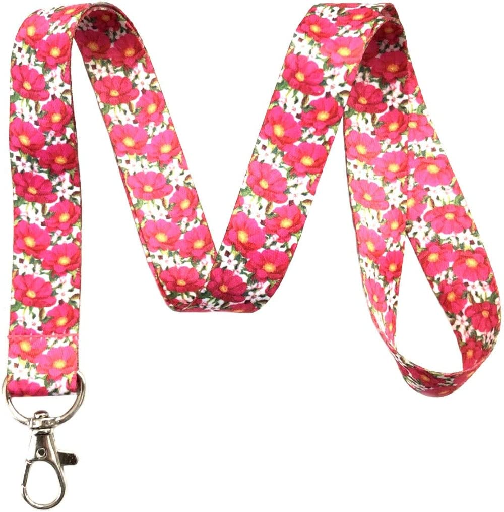 Flower Print Neck Fabric LANYARD with Key Chain for ID Badge holder Key