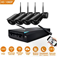 JOOAN Wireless Security Camera System,4 Channel 1080p HD Video Surveillance Cameras 4 x 2.0MP WiFi CCTV Camera Outdoor/Indoor Network IP Cameras with NVR