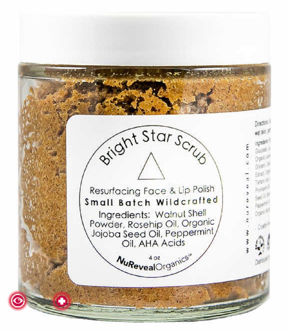NuRevealOrganics Bright Star Scrub Resurfacing Face & Lip Polish, 4 oz ~ Cruelty-free & Vegan ~ Exfoliating Cleanser