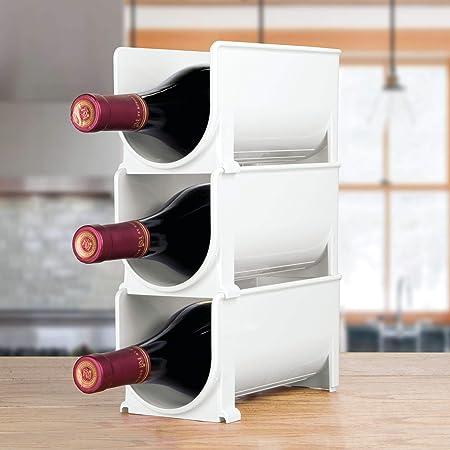 mDesign Estante para botellas - Ahorre espacio con este botellero apilable y tenga siempre ordenadas sus botellas de vino, agua o refrescos - Vinoteca (set de 4 soportes individuales) - Blanco