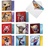 The Best Card Company - 10 Blank Greeting Cards with Animals (4 x 5.12 Inch) - Assorted Pets, Wildlife Kid Cards - Animal Mag