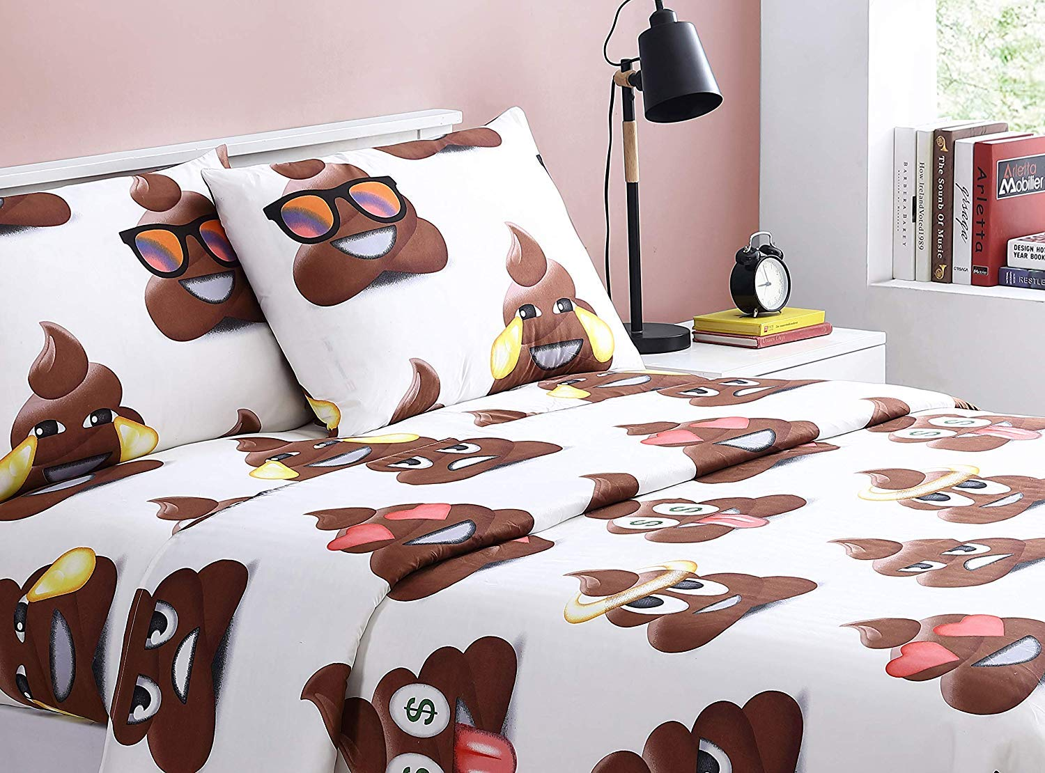 Spirit Linen 4pc Emoji Bed Sheet Sets with Pillow Case Cute and Cozy Giving You A Wonderful Night of Well Rested Sleep (Multipoop, Full)