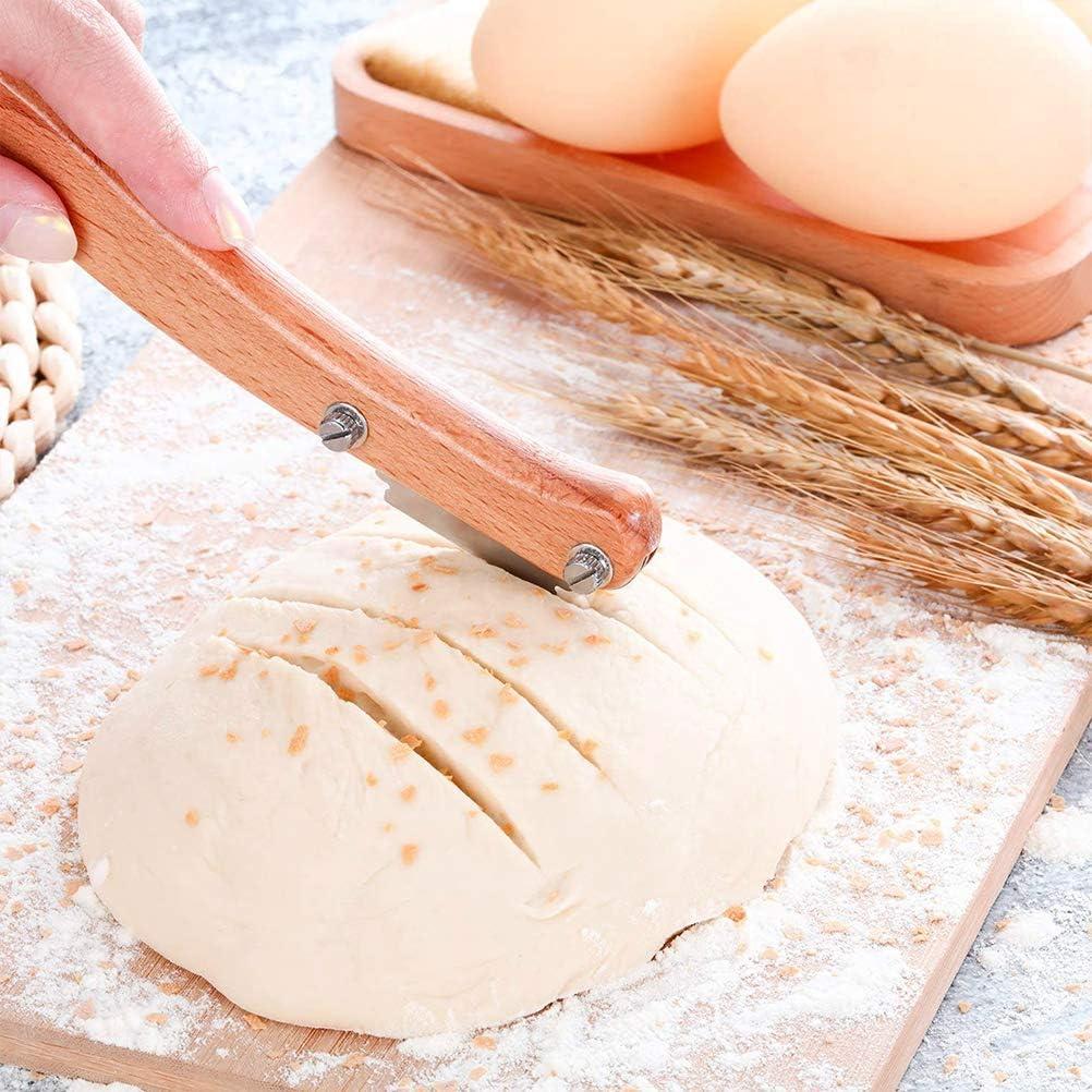masa y cocina cubierta protectora de cuero aut/éntico para hacer pan hecho a mano herramienta de corte de pan Malsyee Cortador de pan maquinilla de afeitar con 5 cuchillas