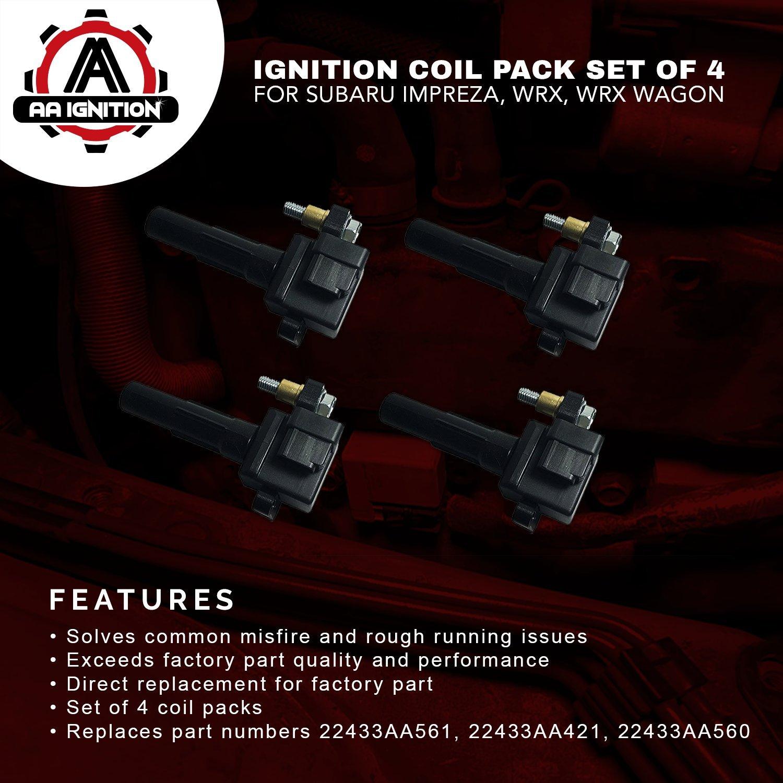 Amazon.com: Ignition Coil Pack Set of 4 - Fits Subaru Impreza WRX, WRX  Wagon - Replaces# 22433AA421-2002, 2003, 2004, 2005 models: Automotive