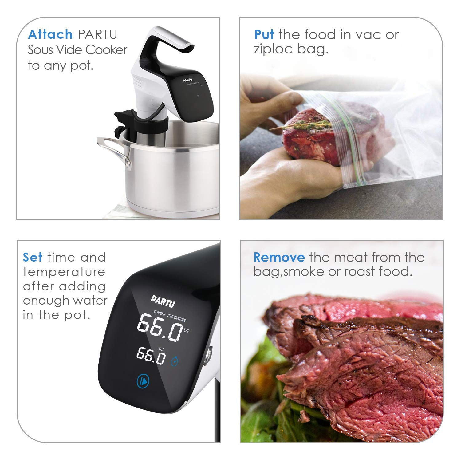PARTU Sous Vide, Food-Grade Stainless Steel Sous Vide Cooker, 8.2LPM Speed | 850W | Adjusted Clamp | Anti-Moist Curved Panel | Dual Safety Protection with Cooking Guide by  PARTU (Image #4)