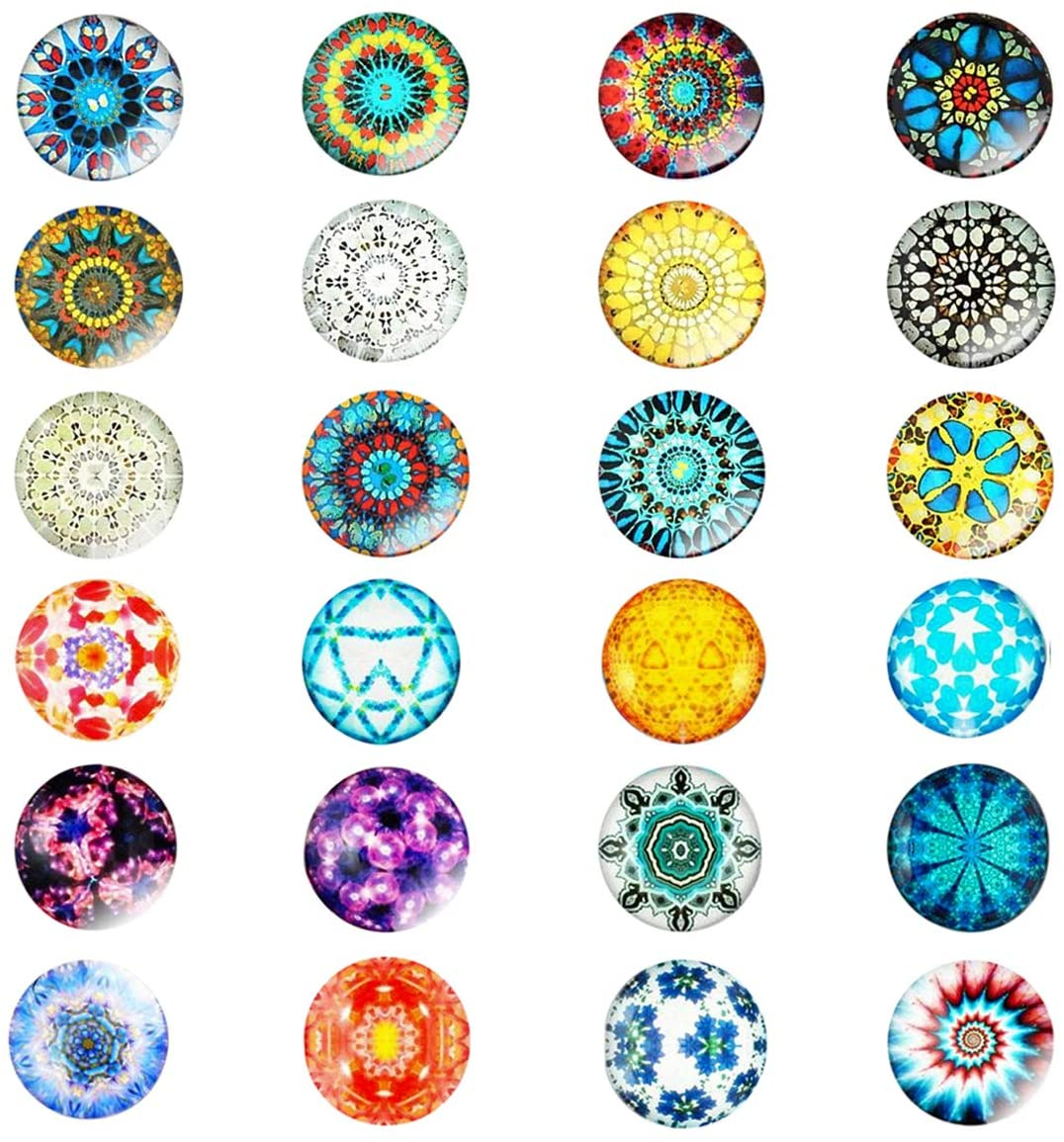 24 Pieces Beautiful Glass Fridge Magnets, Pretty Refrigerator Magnets for Office Cabinet Refrigerator Whiteboard Photo