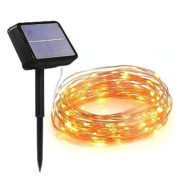 HAHOME Solar LED Lichterkette 33ft 132 LEDs Kupferdraht Lichter ...