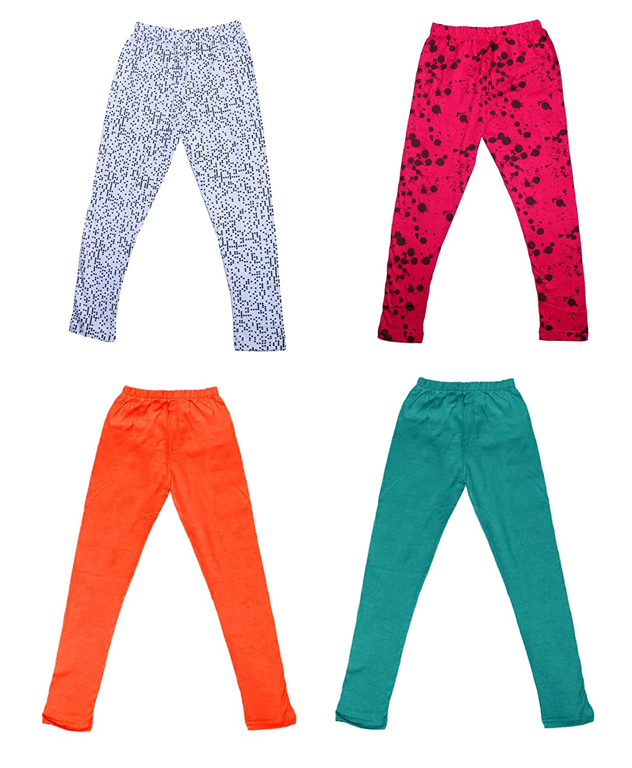 Pack Of 4 /_Multicolor/_Size-13-14 Years/_71414152021-IW-P4-36 Indistar Girls 2 Cotton Solid Legging Pants and 2 Cotton Printed Legging Pants