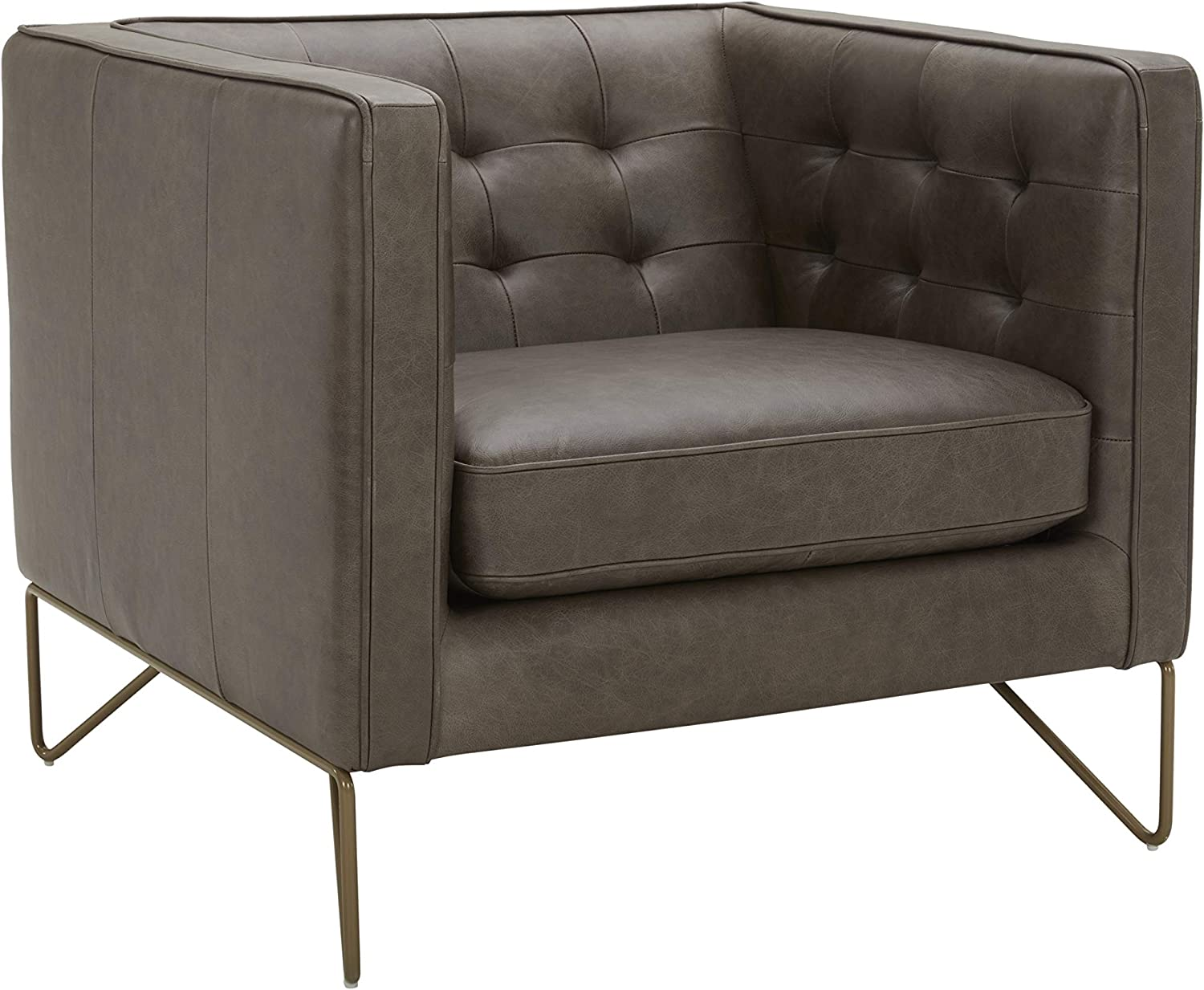 """Amazon Brand – Rivet Brooke Contemporary Mid-Century Modern Tufted Leather Living Room Chair, 35""""W, Grey"""