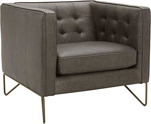 Amazon Brand Rivet Brooke Contemporary Mid-Century Modern Tufted Leather Living Room Chair