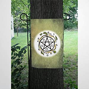 BYRON HOYLE Swirling Leaves Pentacle Garden Flag Decorative Holiday Seasonal Outdoor Weather Resistant Double Sided Print Farmhouse Flag Yard Patio Lawn Garden Decoration 12 x 18 Inch
