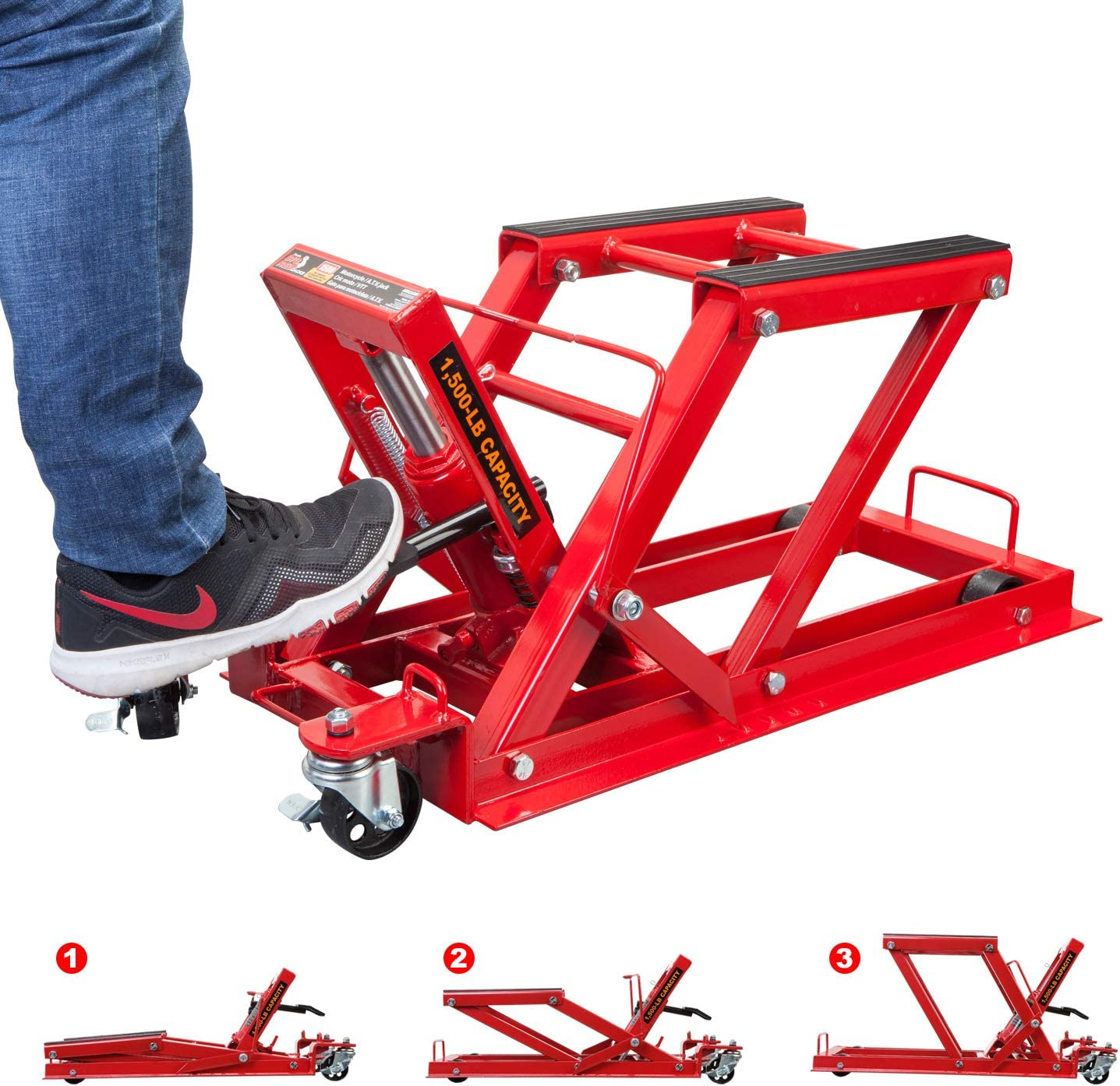 Torin Big Red Motorcycle Capacity T64017 1,500 lb 3//4 Ton ATV Jack