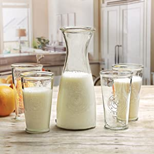 Circleware Beverage Carafe Water Pitcher with Handle and Drinking Glasses, Kitchen Glassware for Milk, Juice, Beer, Wine, Farmhouse Decor, 5 Piece Set of 1-40 oz, 4-16 oz, Ranch Rooster Set of 5