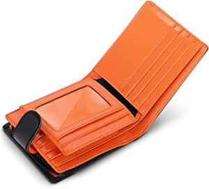 wilbest® Billetera de Hombre de Piel, Cartera RFID, Carteras Hombre con Monedero - Bloque 13.56 MHz, Cartera Personalizada Función de 4 en 1, Botón Diseño de Bolsillo con Cremallera, Negro Naranja