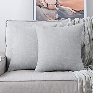 MIULEE Pack of 2 Decorative Square Throw Pillow Covers Farmhouse Style Linen Cushion Cases Vintage Decor Greyish White Pillow Cases for Couch Sofa Bedroom Car 20 x 20 Inch 50 x 50 cm