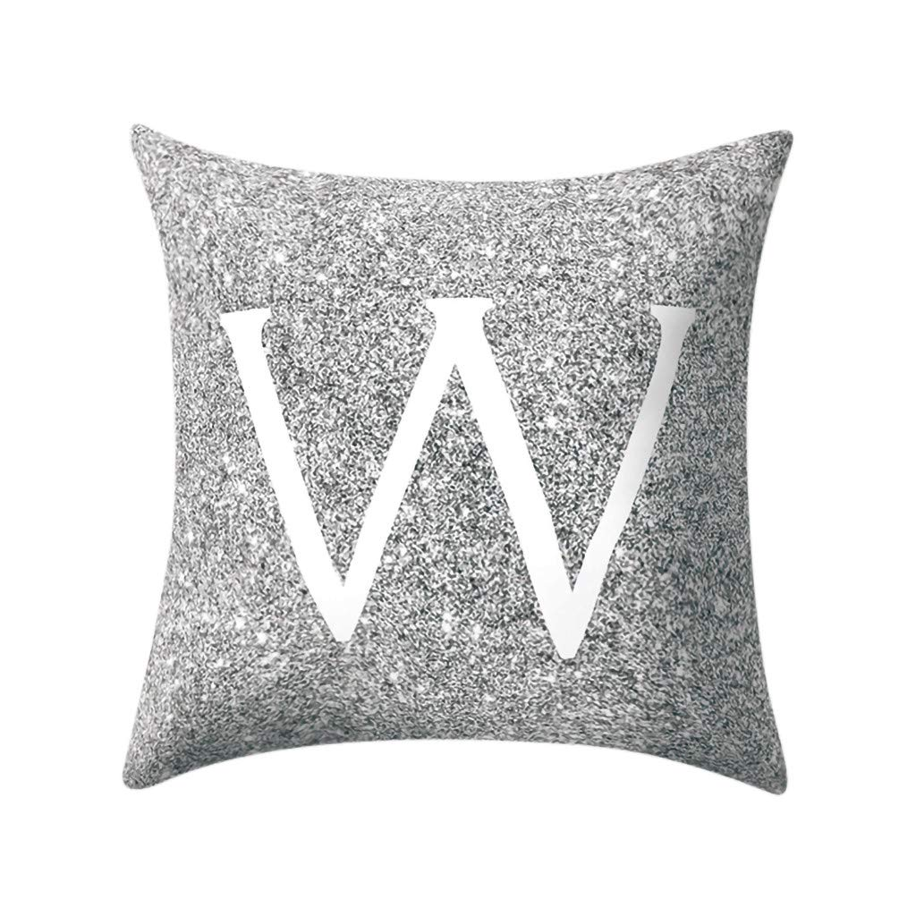 Letter Pillow Case Covers Metallic Throw Pillow Case 18x18'' A-Z Letter Alphabets Cushion Cover Polyester Pillowcase for Home Sofa Couch Decor (W)