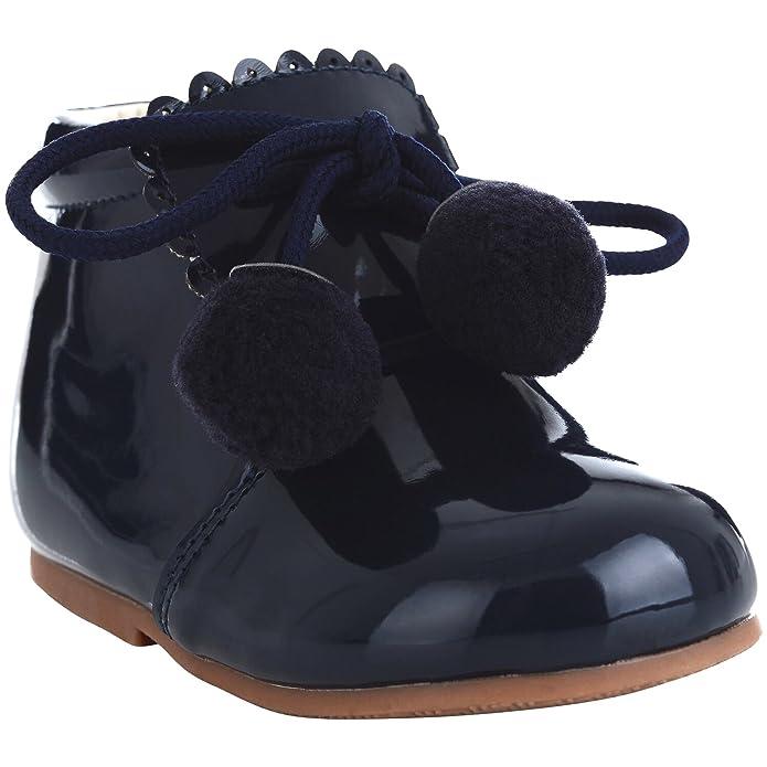 87bb1cd9484dc Girls Bridesmaids Party Pom Pom Shoes Patent Shoes Infant Sizes UK 1,2  3,4,5,6,7,8,9,10
