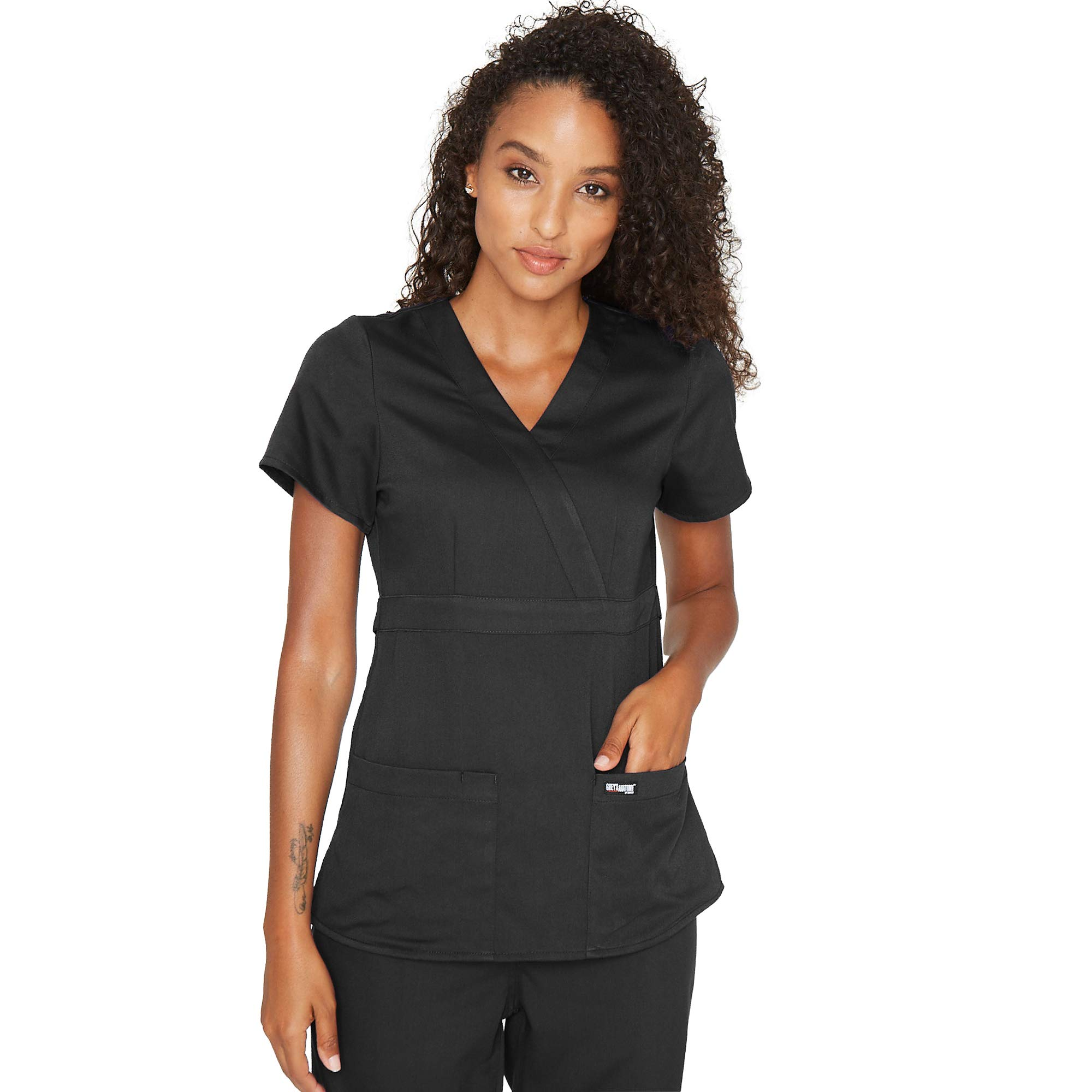 Grey's Anatomy Signature Women's Plus Size 3 Pocket Mock Wrap Scrub Top