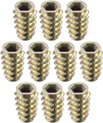 sourcing map Tuercas hexagonales de Inserci/ón de roscado de aleaci/ón de zinc roscas internas M6 13mm Longitud 50pcs