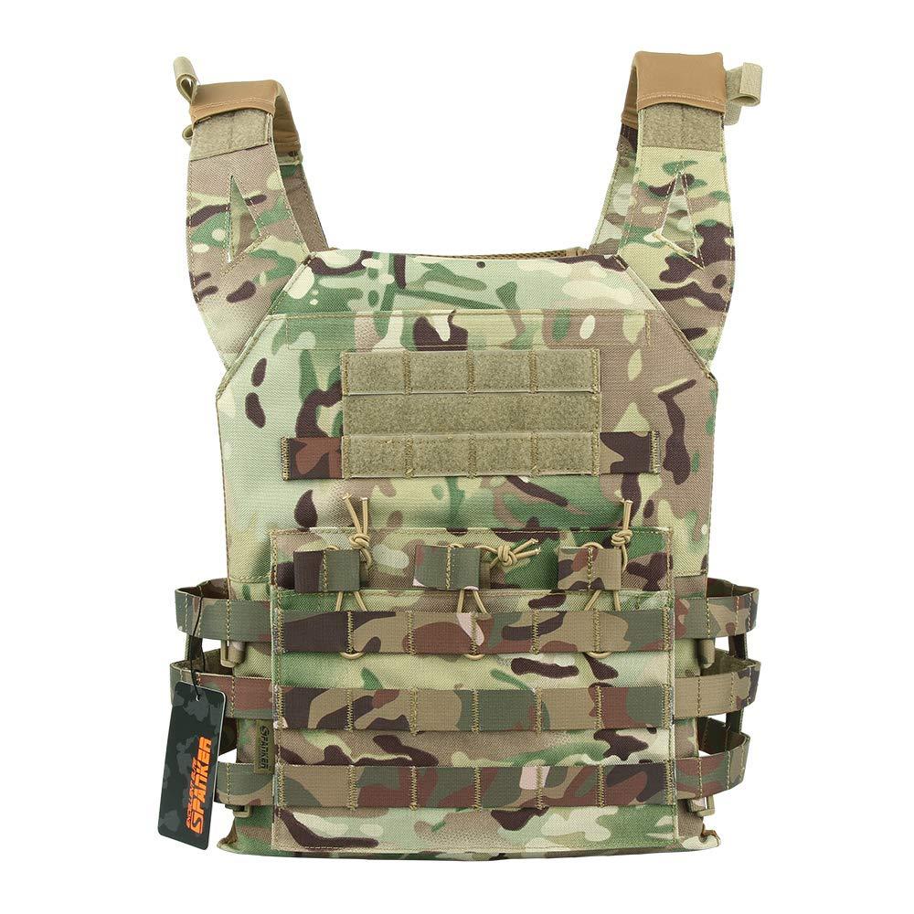 EXCELLENT ELITE SPANKER Tactical Airsoft Outdoor Molle Breathable JPG Vest Game Protective Vest Modular Chest Set Vest for Fun(MCP)