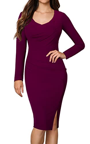 HOMEYEE Women's Vintage Frilled Business Party Casual Pencil Dress B356