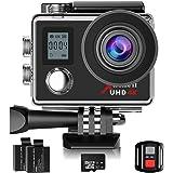 Campark Caméra Sport 4K/1080P WiFi Double Ecran 16MP Ultra HD Caméra Etanche 30M, 170 Degrée, Télécommande avec 32GB Class 10 Mémoire Carte, 2 Batterie et inclut des Kits Complets d'Accessoires