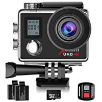 Campark 4K Action Camera Dual Screen WIFI Ultra HD 16MP Impermeabile Sport Camera 170 ° Grandangolare con 32GB Classe 10 Scheda di memoria Telecomando due 1050mAh Batterie