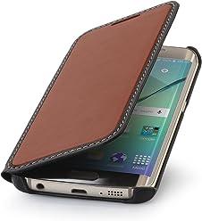 StilGut Housse pour Samsung Galaxy S6 Edge en Cuir véritable à Ouverture latérale, Marron/Noir Nappa