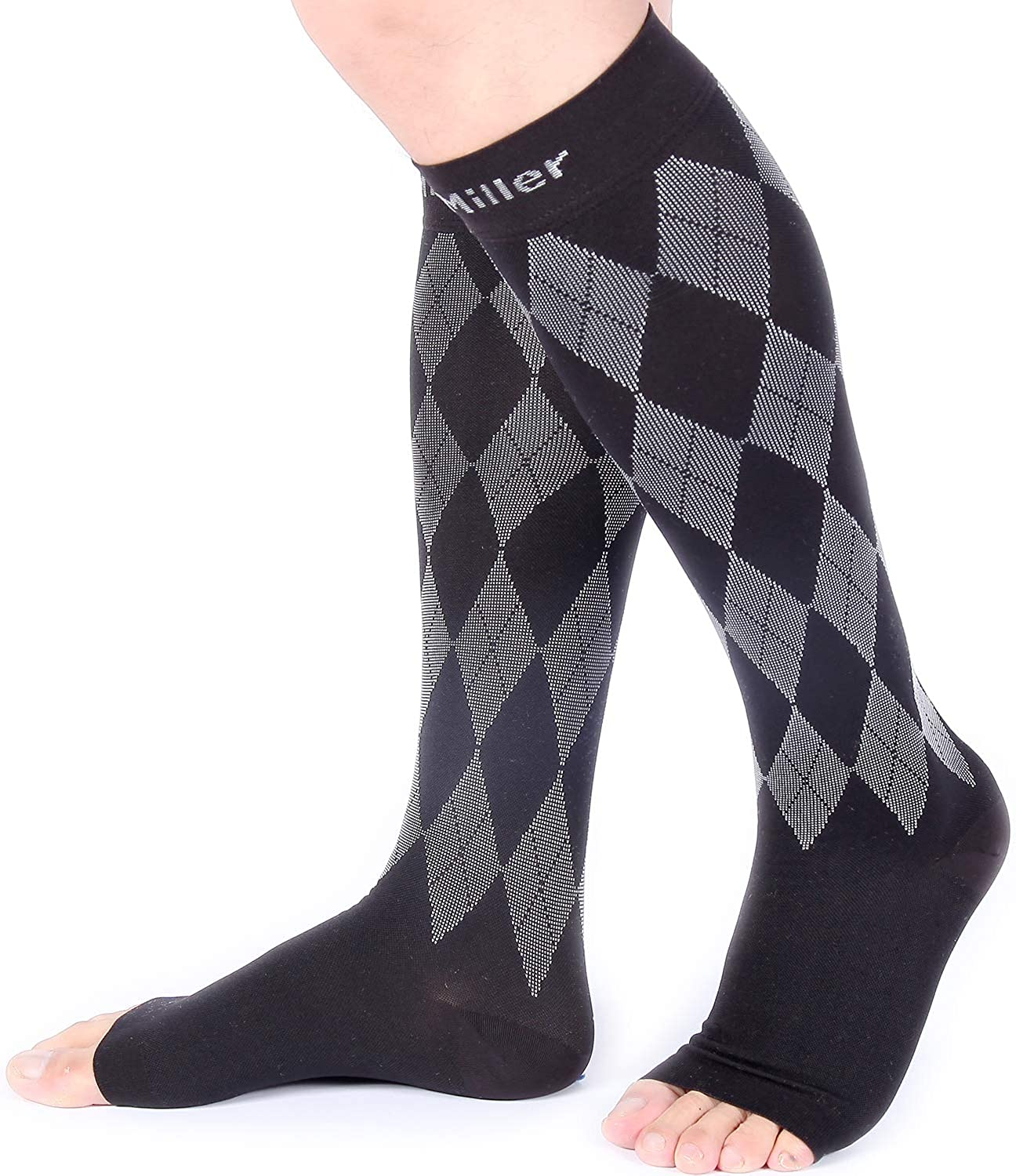 Doc Miller Open Toe Compression Socks 1 Pair 20-30mmHg