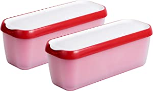 StarPack Long Scoop Ice Cream Freezer Storage Containers Set of 2 - for Home Made Ice Cream, Freezer Containers, Meal Prep, Soup and Food Storage