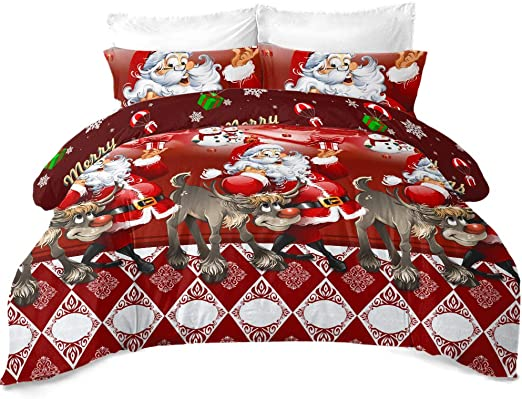 Luxury Unicorn Christmas Kids Xmas Duvet Set Bed Festive Quilt Cover Bedding New